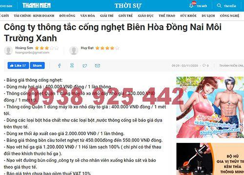 Bảng giá thông cống nghẹt Biên Hòa Đồng Nai