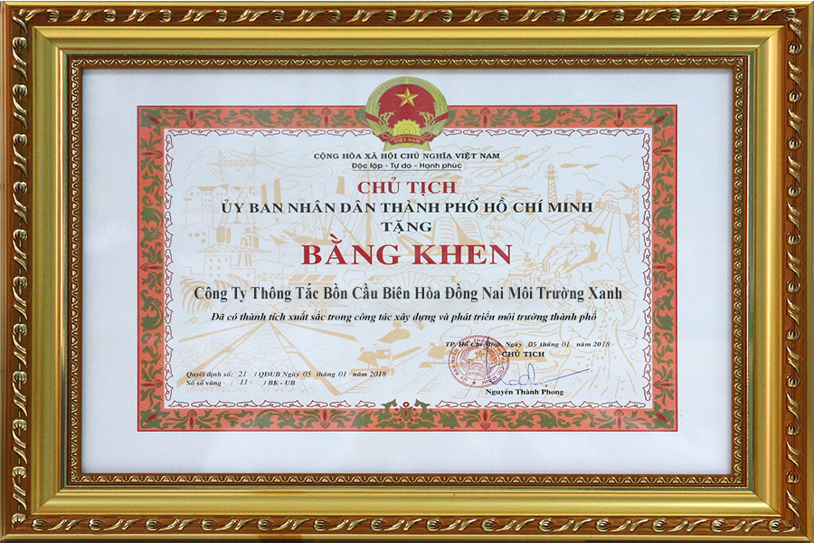 Bằng Khen vinh danh Công Ty Thông tắc bồn cầu Biên Hòa Đồng Nai