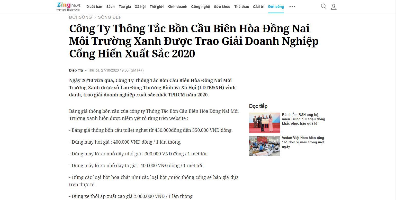 Báo Zingnews đưa tin về Công Ty Thông tắc bồn cầu Biên Hòa Đồng Nai